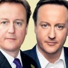 Real David Cameron and poster-boy airbrushed David Cameron